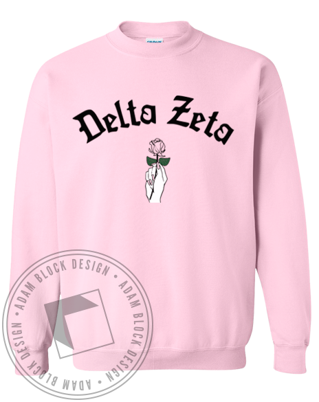 Delta Zeta Rose Crewneck Sweatshirt-Adam Block Design
