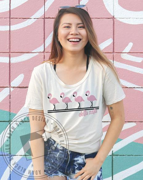 Delta Zeta Summer Flamingo Tee-gallery-Adam Block Design