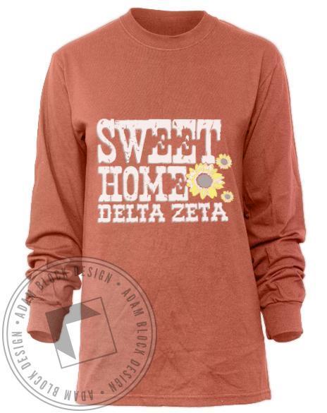 Delta Zeta Sweet Home Long Sleeve Tee-Adam Block Design