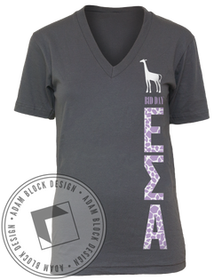 Epsilon Sigma Alpha Giraffe V-Neck Tee Shirt-Adam Block Design