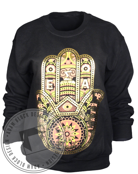 Epsilon Sigma Alpha Gold Hand Crewneck Long Sleeve-gallery-Adam Block Design
