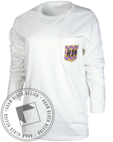 Eta Sigma Phi Chevron Pocket Long Sleeve-gallery-Adam Block Design