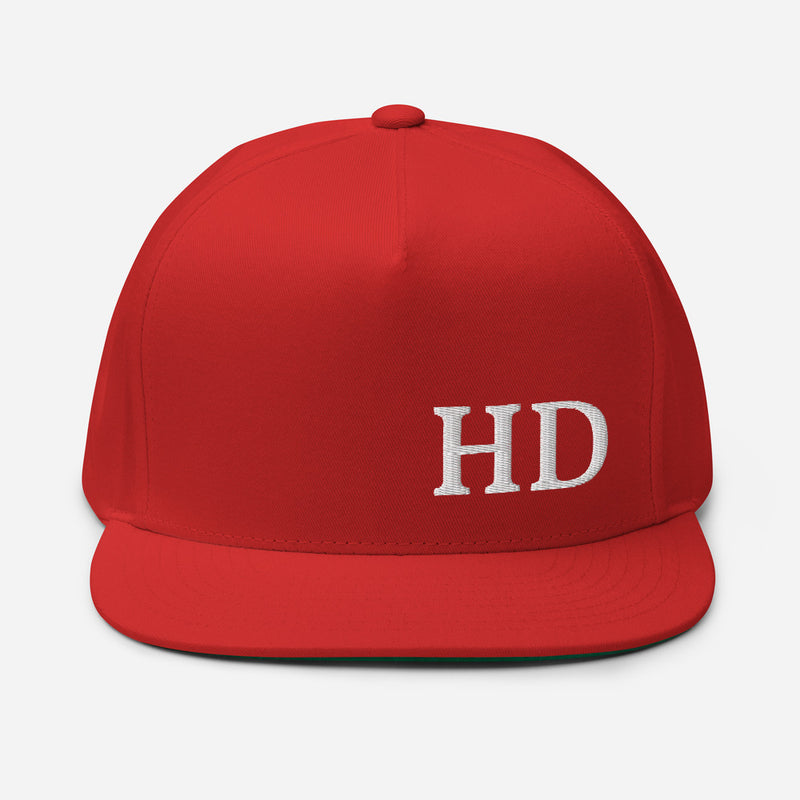 HD Flat Bill Cap - Color: Red - Adam Block Design