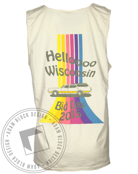 Gamma Phi Beta 70's Hello Wisconsin Tank Top-Adam Block Design