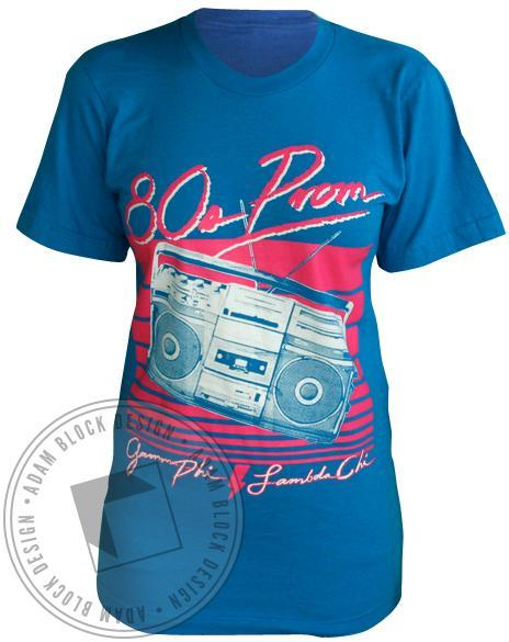 Gamma Phi Beta 80's Prom Tee-Adam Block Design