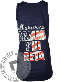 Gamma Phi Beta All American Flag Tank-Adam Block Design