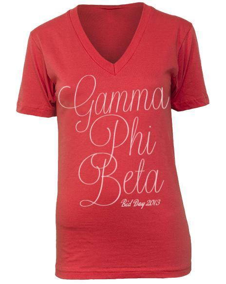 Gamma Phi Beta Bid Day Flowy V-Neck-Adam Block Design