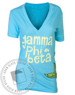 Gamma Phi Beta Bid Day Mermaid V-Neck-Adam Block Design