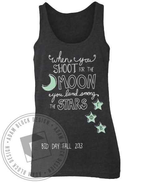 Gamma Phi Beta Bid Day Moon And Stars Tank-Adam Block Design