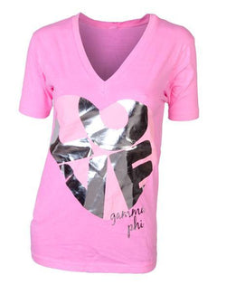 Gamma Phi Beta Bid Day Pink V-Neck-Adam Block Design