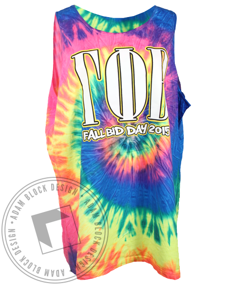 Gamma Phi Beta Bid Day Tie Dye Tank Top-Adam Block Design