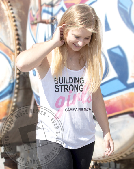 Gamma Phi Beta Building Strong Girls Tank-Adam Block Design