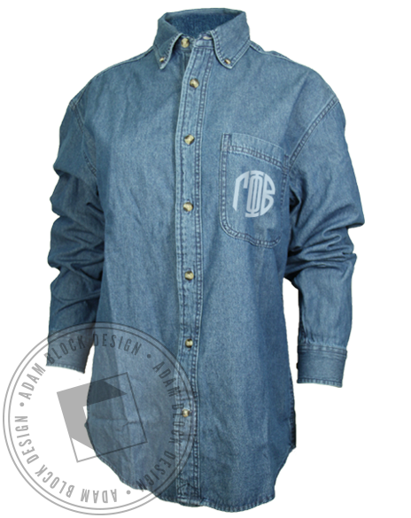Gamma Phi Beta Button Up Chambray Shirt-gallery-Adam Block Design