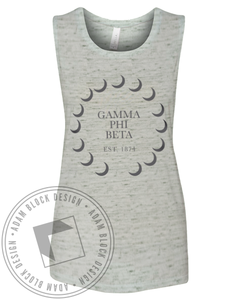 Gamma Phi Beta Crescent Muscle Tank-Adam Block Design