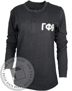 Gamma Phi Beta Crest Long Sleeve Henley-Adam Block Design