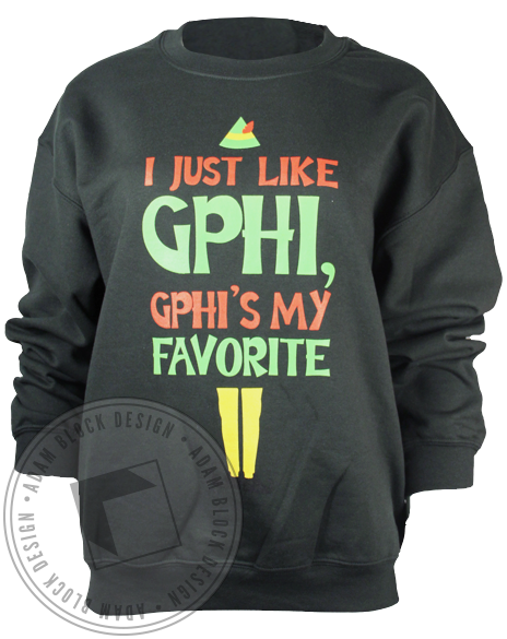 Gamma Phi Beta Elf Sweatshirt-Adam Block Design