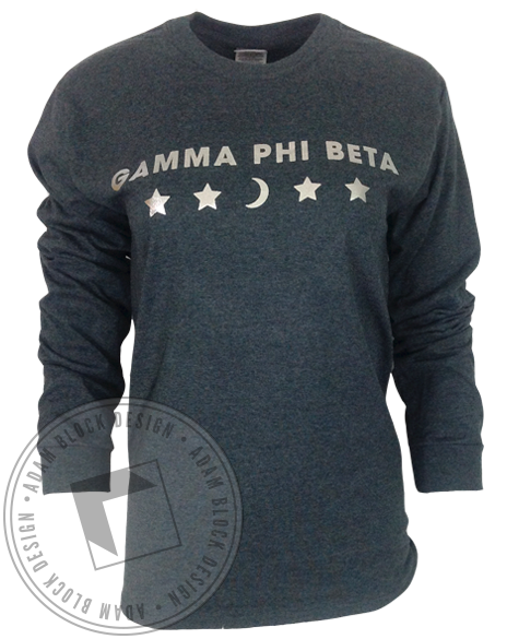 Gamma Phi Beta Galaxy Moon Man Long Sleeve-Adam Block Design