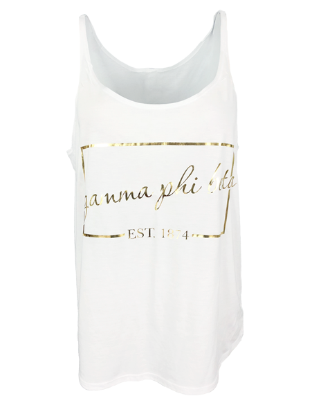 Gamma Phi Beta Gold Foil Box Tank-Adam Block Design