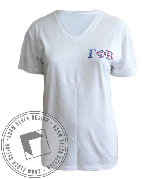Gamma Phi Beta Grab-A-Date Vneck-Adam Block Design