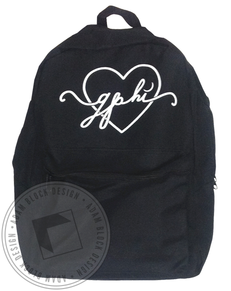 Gamma Phi Beta Heart Backpack-Adam Block Design