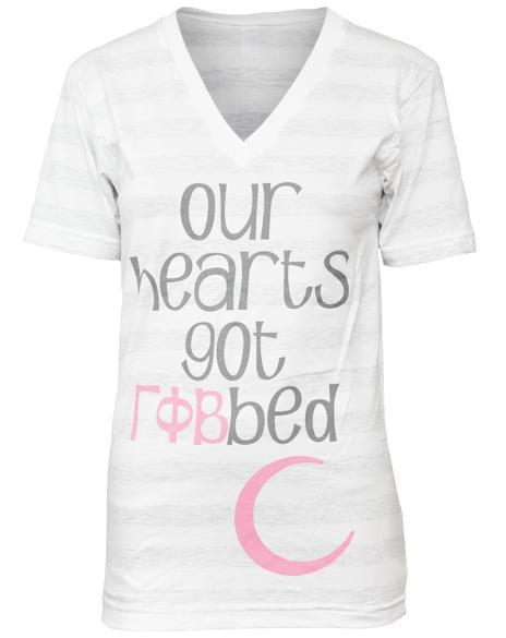 Gamma Phi Beta Hearts Got Robbed V-neck-Adam Block Design
