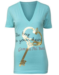 Gamma Phi Beta Key V-Neck-Adam Block Design