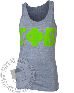 Gamma Phi Beta Letters Grey Tank-gallery-Adam Block Design