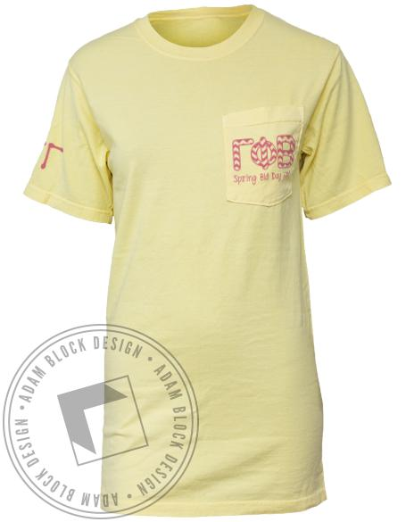 Gamma Phi Beta Lucky To Be Pocket Tee-Adam Block Design