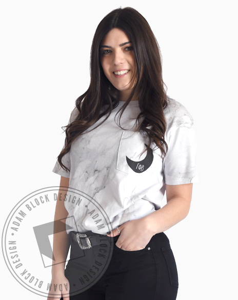 Gamma Phi Beta Marble Pocket Tee-Adam Block Design