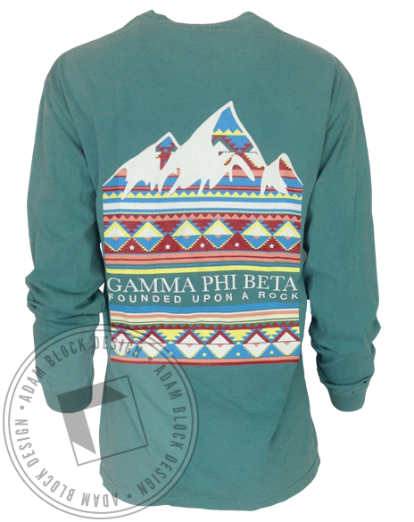 Gamma Phi Beta Mountains Motto Pocket Long Sleeve-Adam Block Design