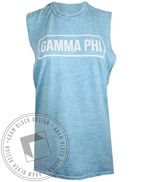 Gamma Phi Beta Muscle Tank Top-Adam Block Design