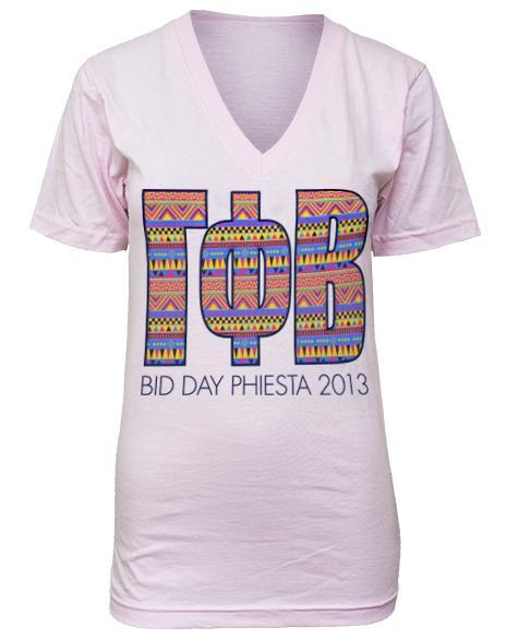Gamma Phi Beta Phiesta Bid Day V-Neck-Adam Block Design