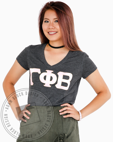 Gamma Phi Beta Pink Fabric Letters Vneck-Adam Block Design