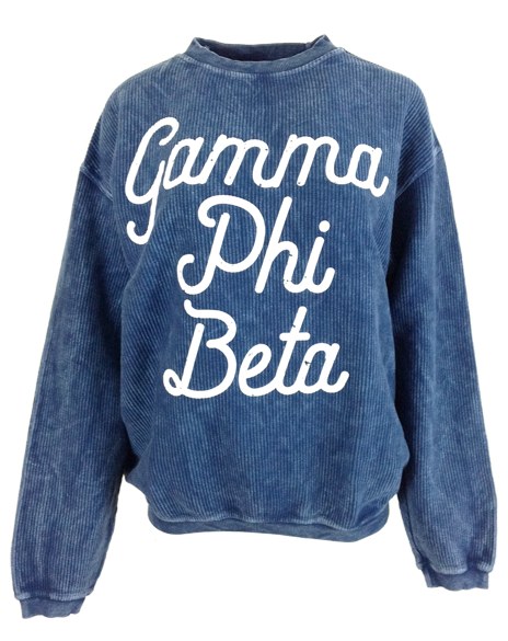 Gamma Phi Beta Script Corded Crewneck-Adam Block Design