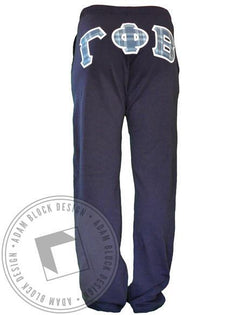 Gamma Phi Beta Stitched Letters Sweatpants-gallery-Adam Block Design