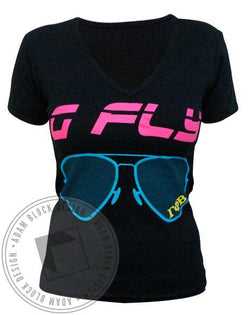 Gamma Phi Beta Sunglasses V-Neck Tee-Adam Block Design