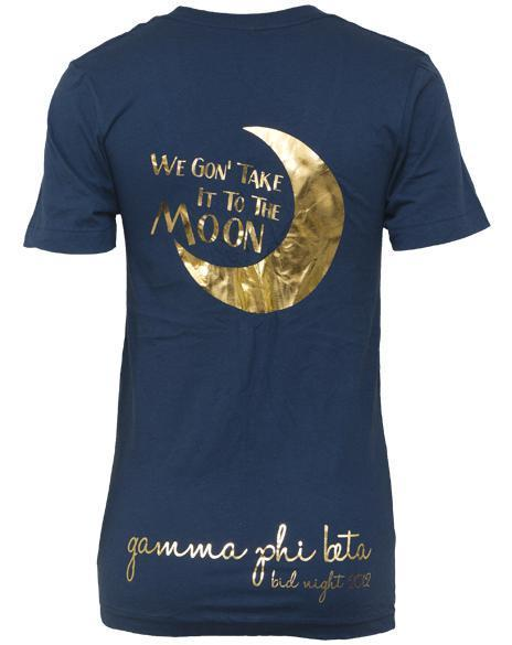 Gamma Phi Beta Take It To The Moon V-neck-Adam Block Design