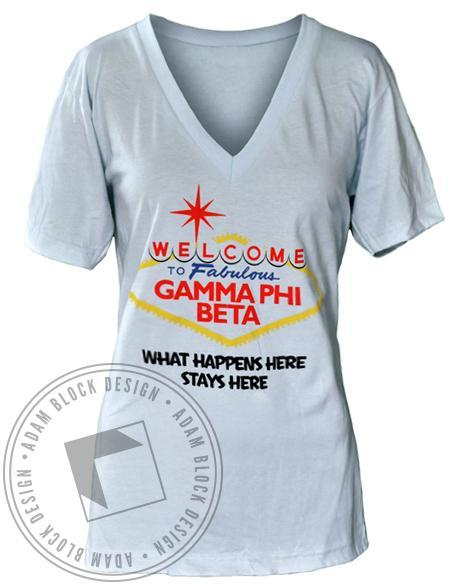 Gamma Phi Beta Vegas V-Neck-Adam Block Design