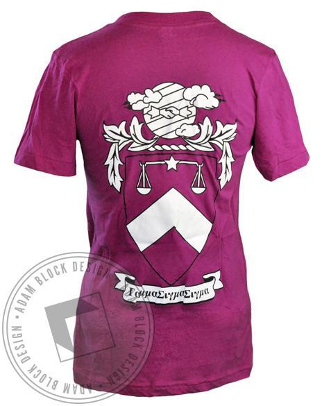 Gamma Sigma Sigma Crest V-Neck Tee Shirt-gallery-Adam Block Design