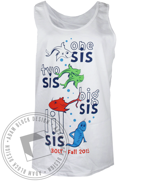Gamma Sigma Sigma One Sis Two Sis Tank Top-Adam Block Design
