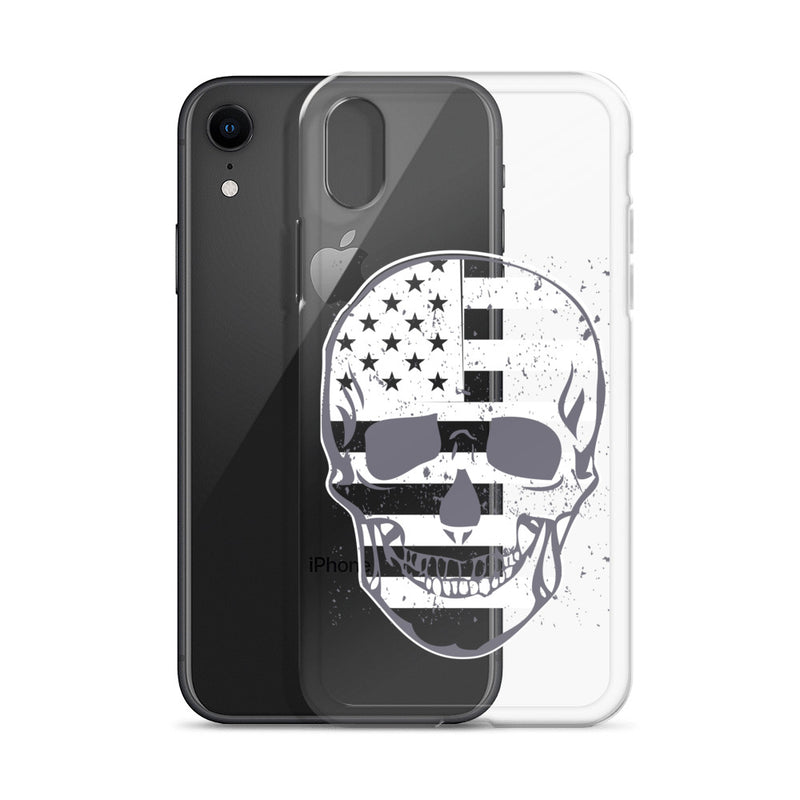 Flag Skull iPhone Case - Size: iPhone 11, iPhone 11 Pro, iPhone 11 Pro Max, iPhone 12, iPhone 12 mini, iPhone 12 Pro, iPhone 12 Pro Max, iPhone 7 Plus/8 Plus, iPhone 7/8, iPhone SE, iPhone X/XS, iPhone XR, iPhone XS Max - Adam Block Design