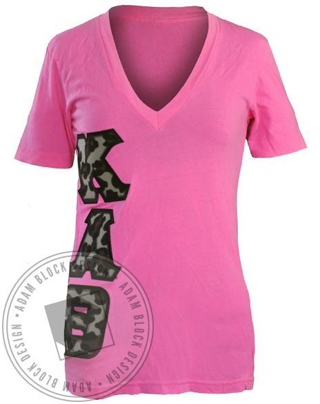 Kappa Alpha Theta Animal Print V-Neck-gallery-Adam Block Design
