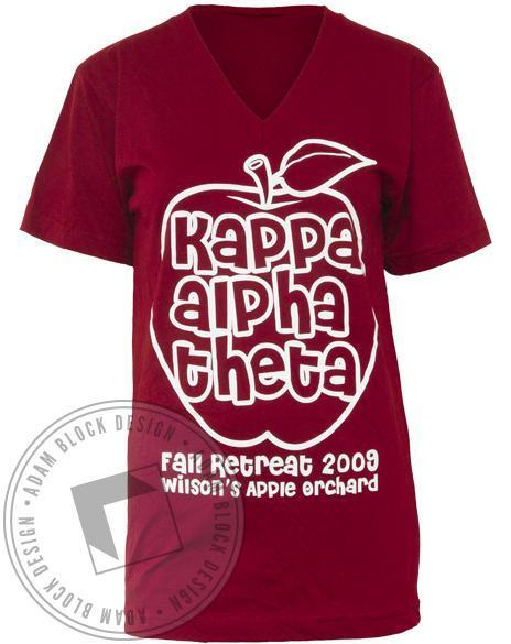 Kappa Alpha Theta Apple V-Neck-Adam Block Design
