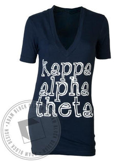 Kappa Alpha Theta Faith Hope Love V-Neck-Adam Block Design