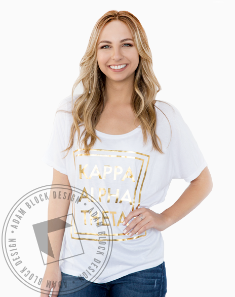 Kappa Alpha Theta Foil Box Tee-Adam Block Design