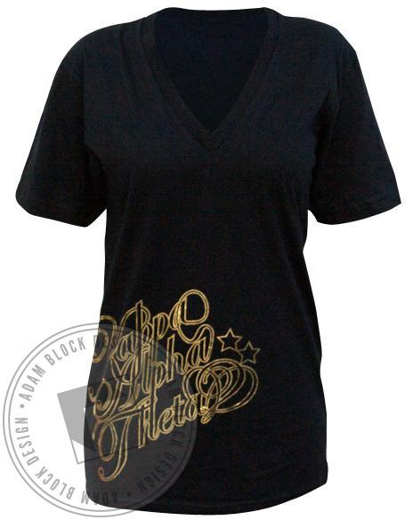 Kappa Alpha Theta Gold Foil KAT V-Neck-Adam Block Design