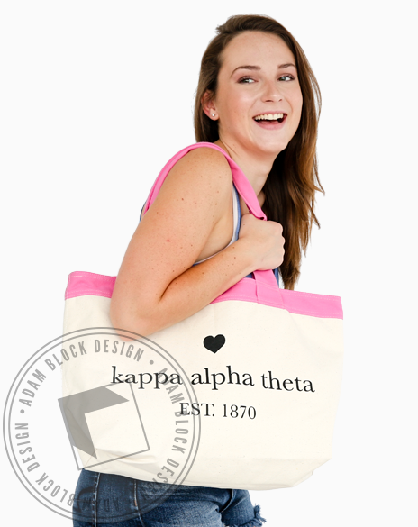 Kappa Alpha Theta Heart Tote Bag-Adam Block Design