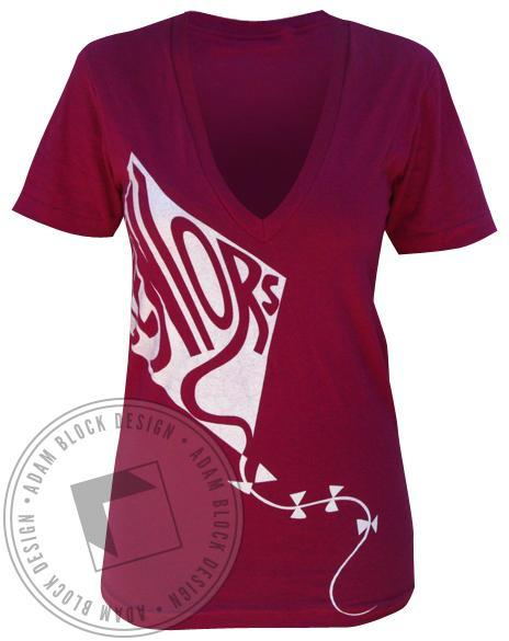 Kappa Alpha Theta Letter Kite V-Neck-Adam Block Design