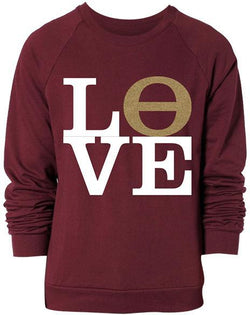 Kappa Alpha Theta Love Crew Neck Sweatshirt-Adam Block Design