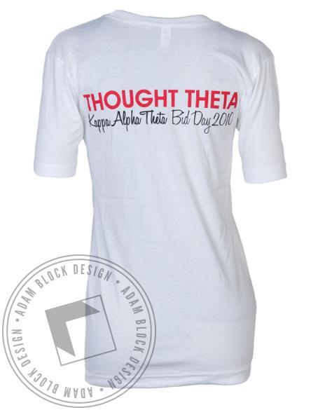 Kappa Alpha Theta Think Thought Theta V-Neck-Adam Block Design